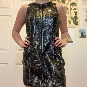 Michael Kors Silver Snakeskin Print Bodycon Dress
